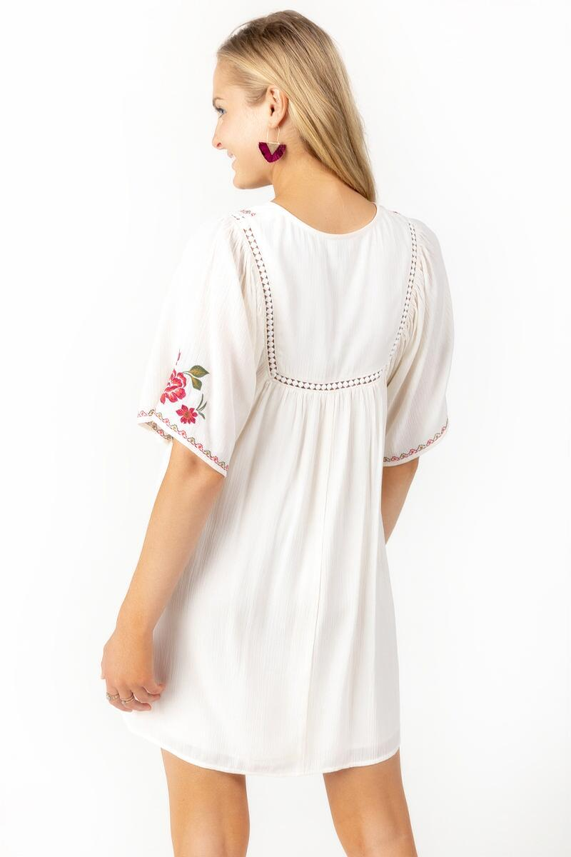 Azalea Embroidered Shift Dress-Ivory 2