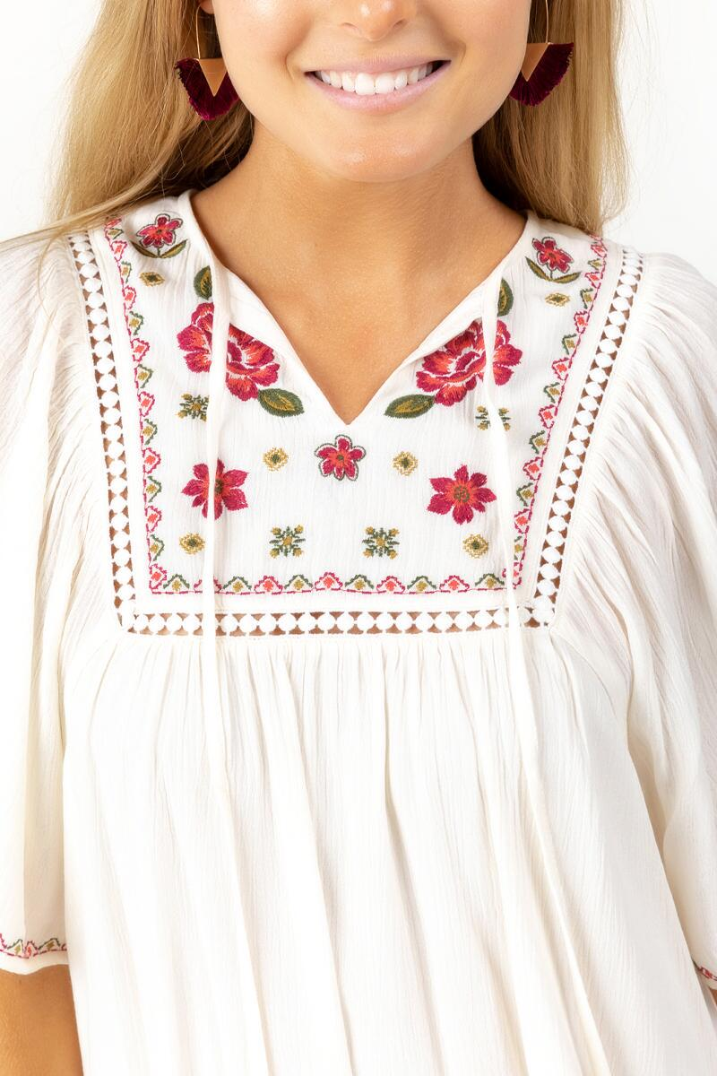 Azalea Embroidered Shift Dress-Ivory 3