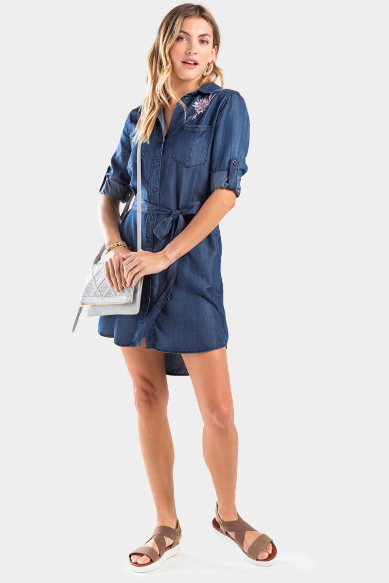 Sasha Embroidered Shirt Dress- Chambray