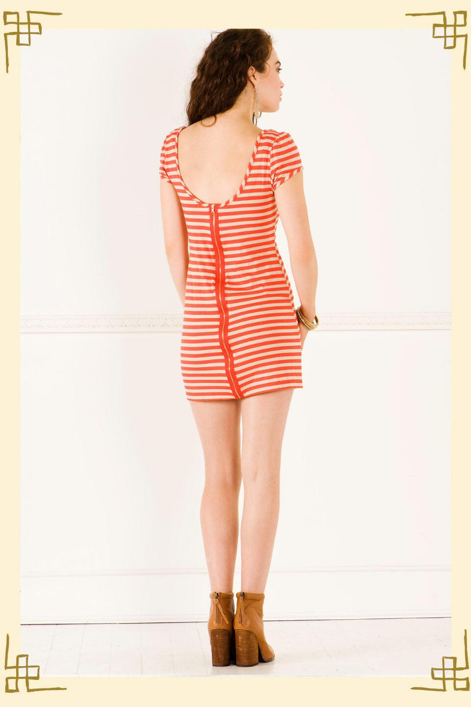 Weekend Getaway Striped Dress-  coralback