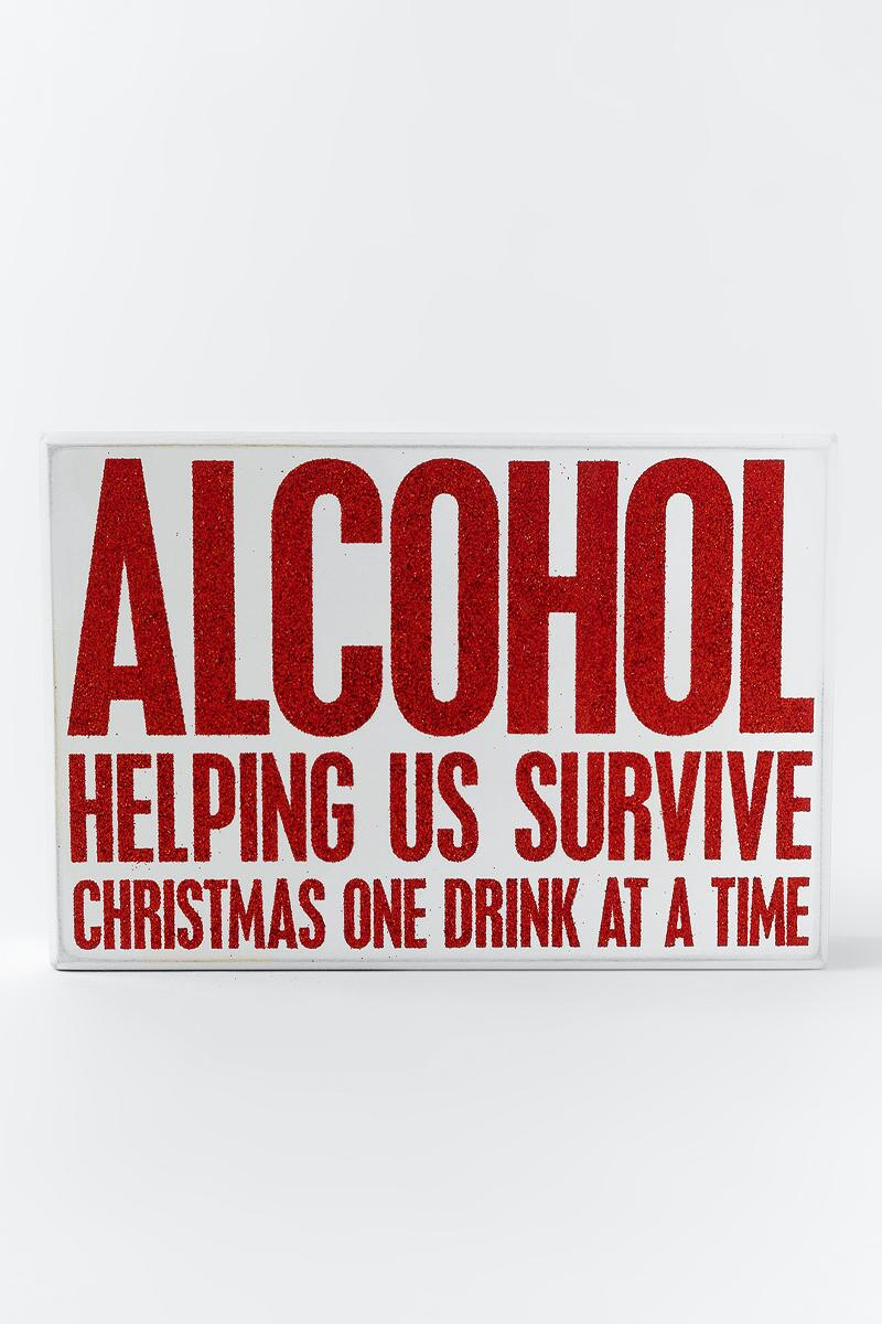 Survive Christmas Box Sign- Red