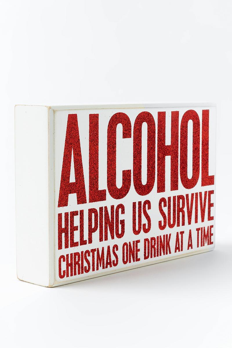 Survive Christmas Box Sign- Red 2