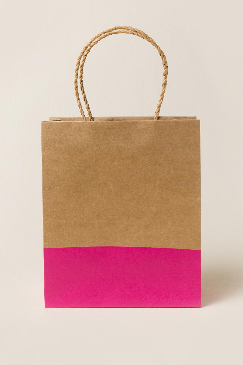 Pink Dipped Kraft Gift Bag