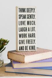 Think Deeply 9x4 Plaque in White