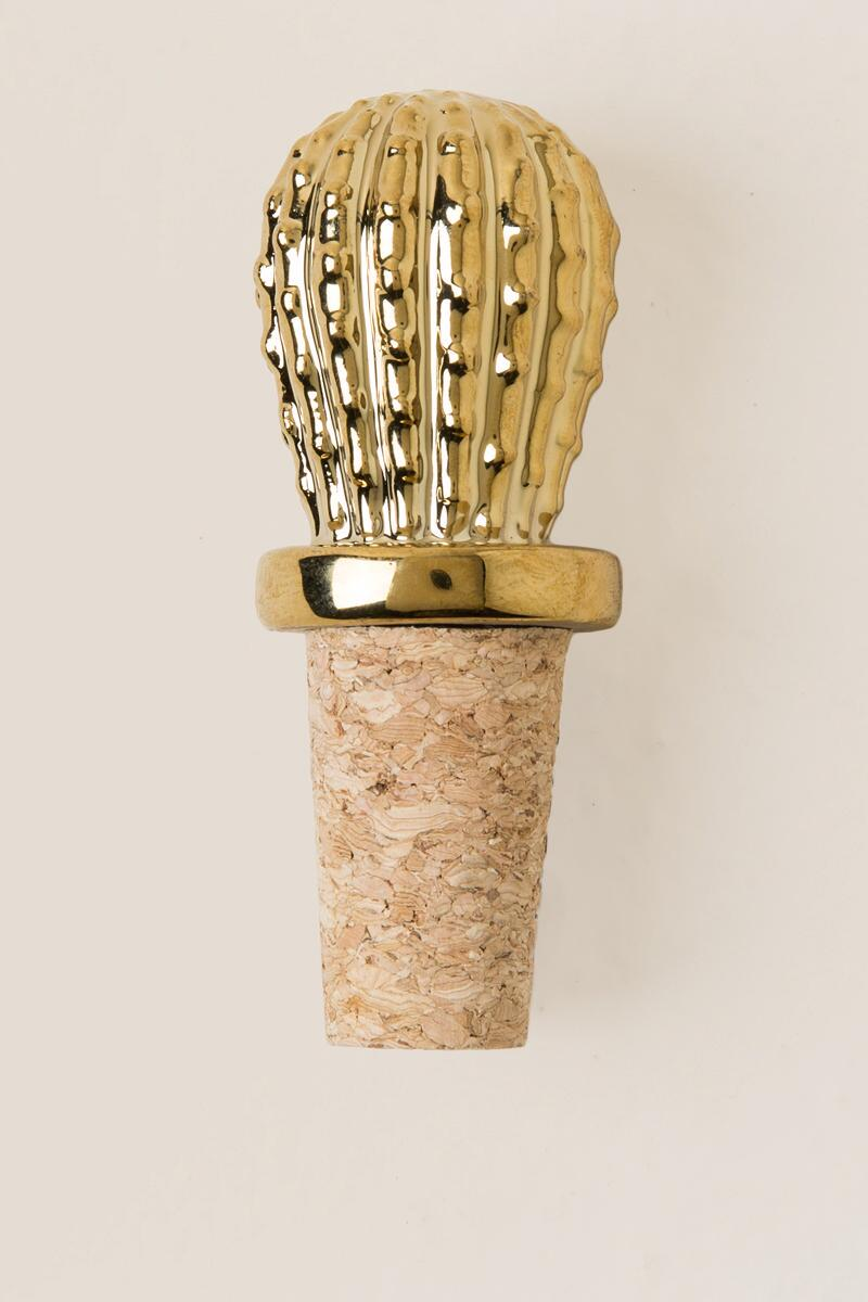 Gold Cactus Bottle Stopper