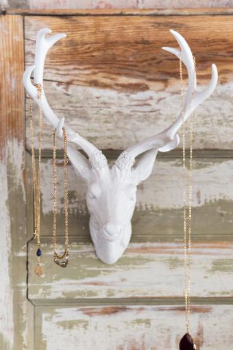 White Resin Deer Head Wall Decor