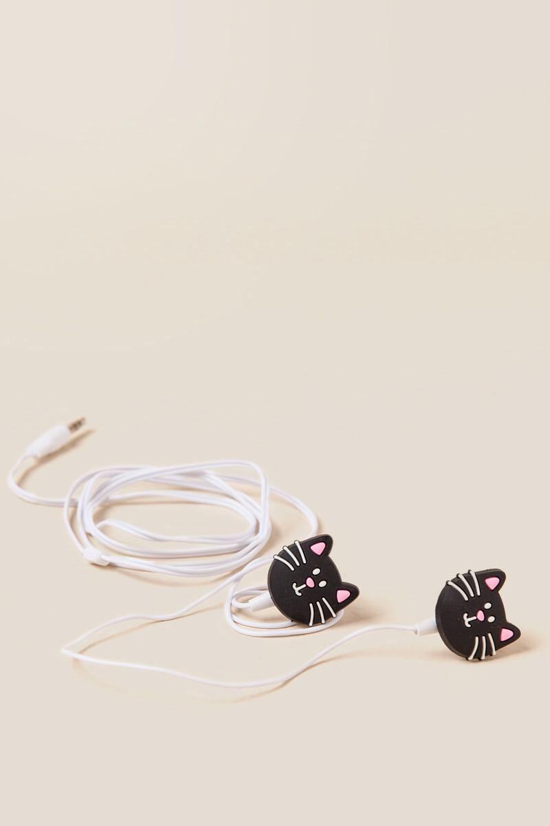 Listen Hear Meow Black Cat Earphones-  gift-clalternate