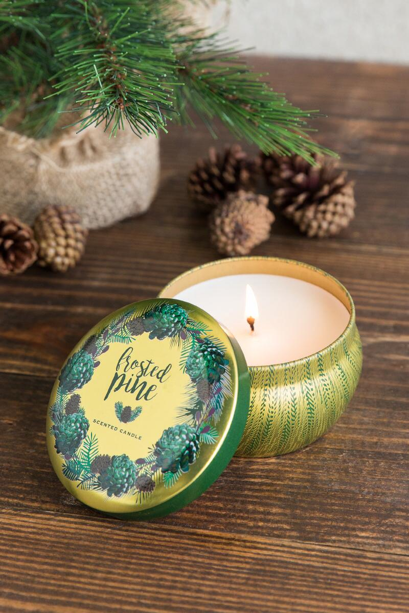 Frosted Pine Candle Tin