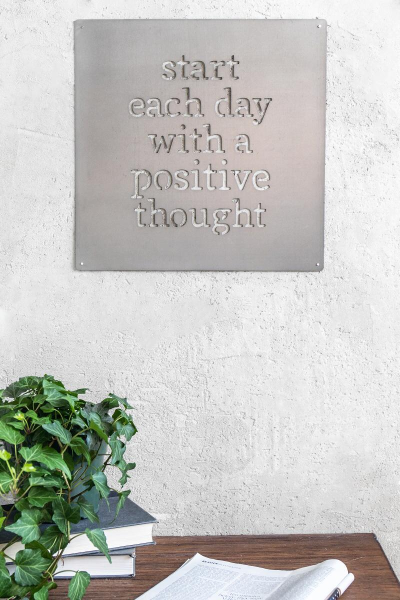 Positive Thoughts Metal Sign