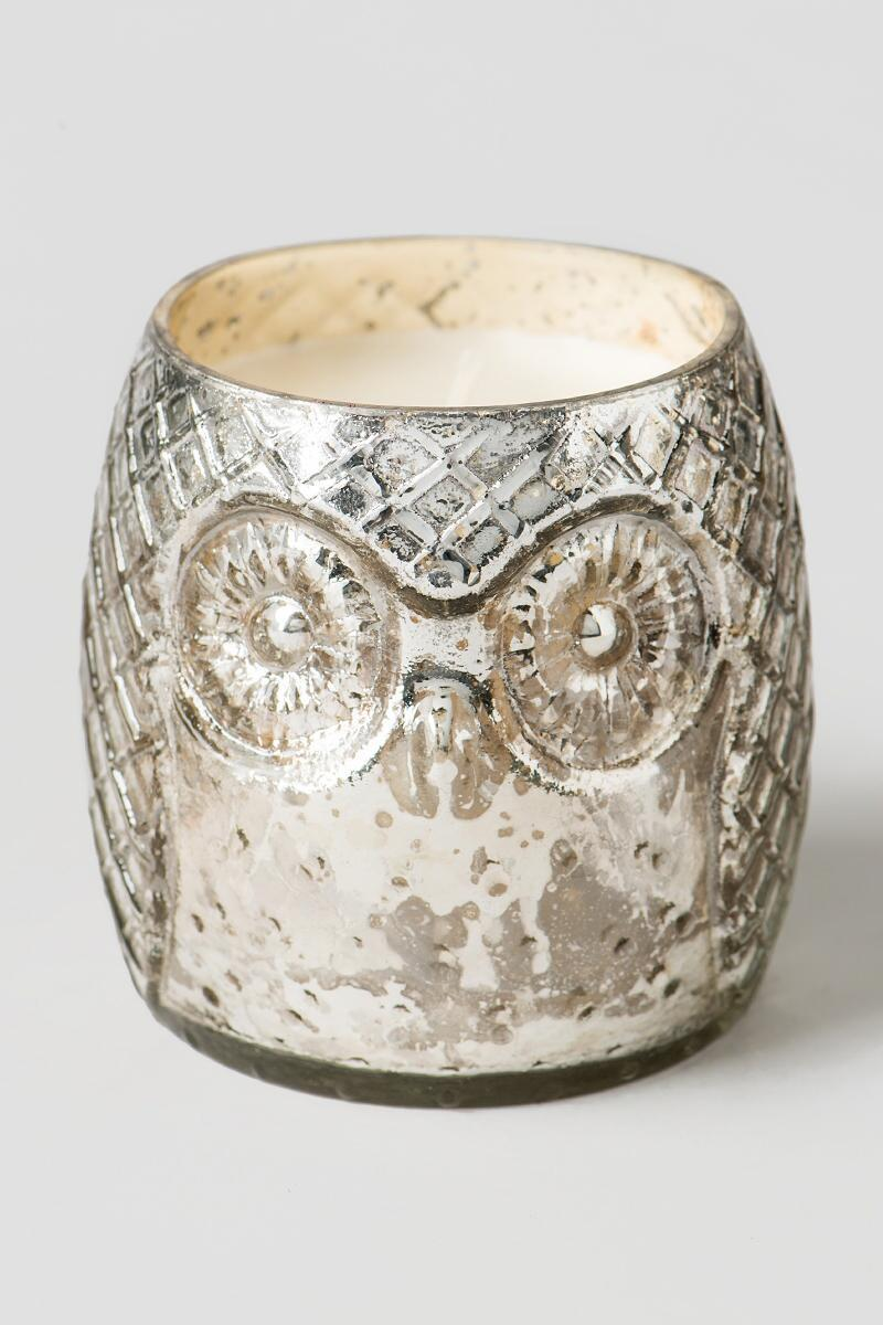 Silver Owl Mercury Glass Candle in Marshmallow