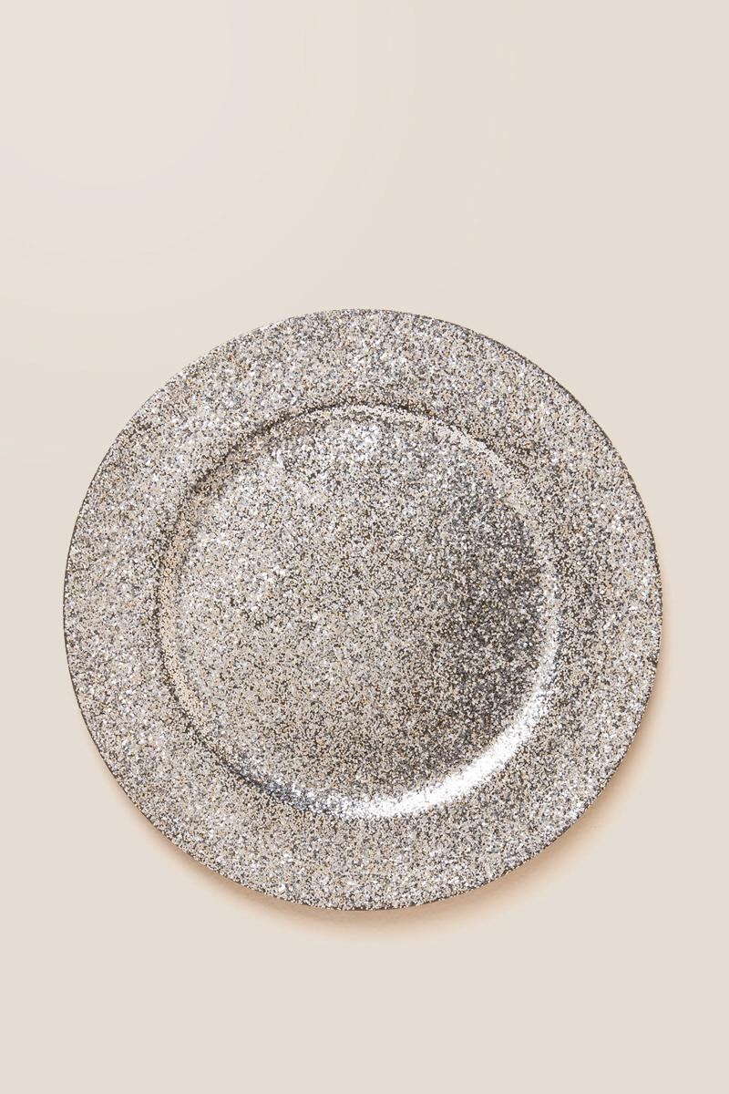 Silver Glitter Charger Plate-  gift-cl