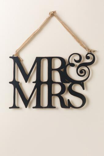 Mr. and Mrs. Wooden Hanger