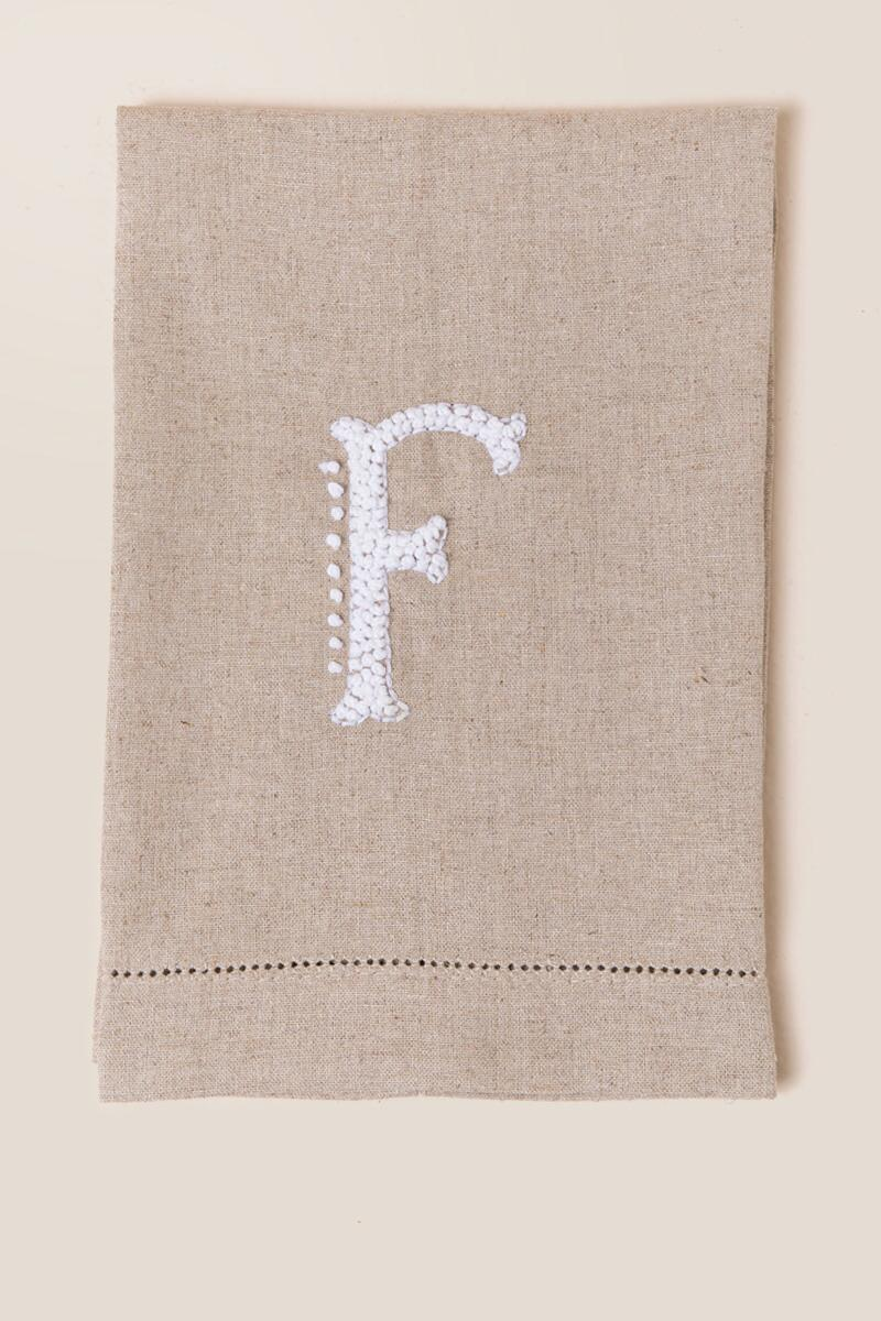 """F"" French Knot Initial Towel-  gift-cl"