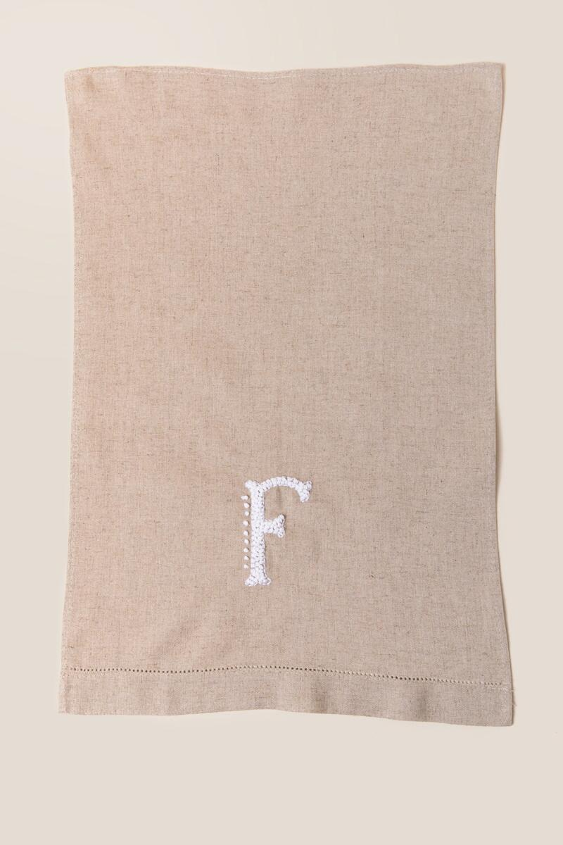 """F"" French Knot Initial Towel-  gift-clalternate"