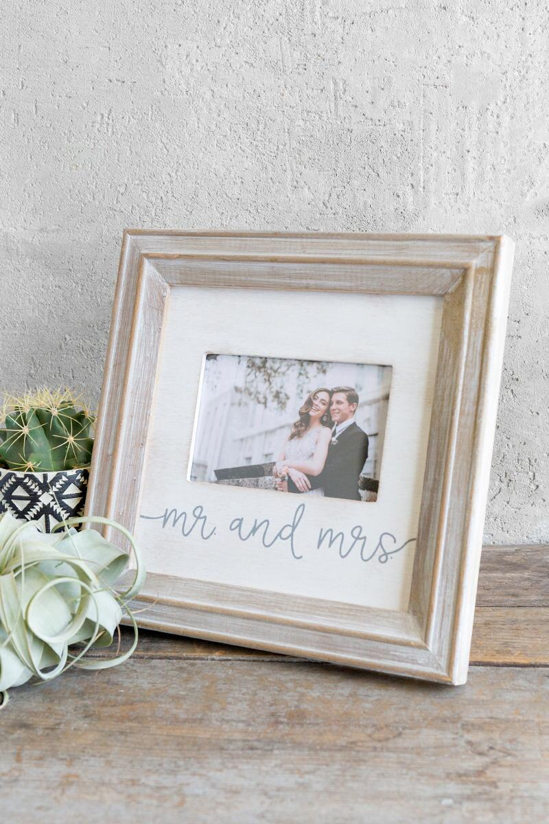 Mr. & Mrs. Small Wood Picture Frame-  gift-cl