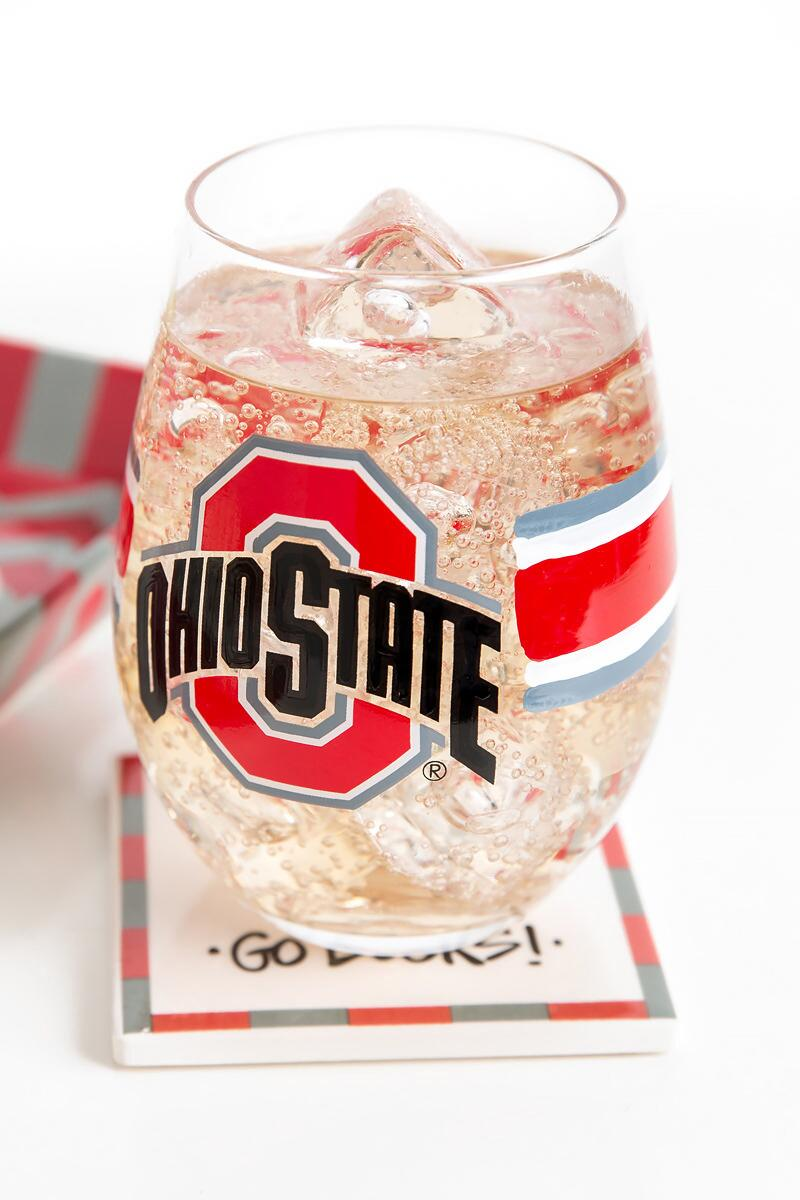 Ohio State University Stemless Wine Glass