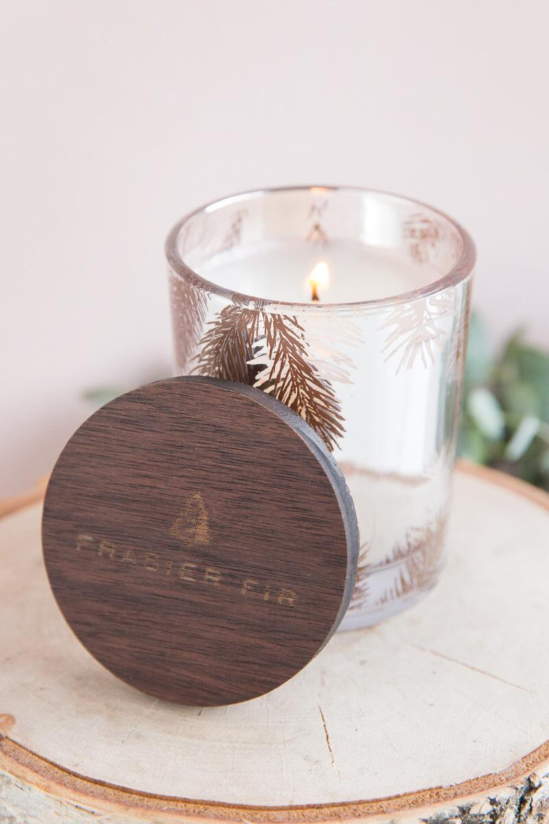 Frasier Fir Mercury Glass Pine Needle Candle