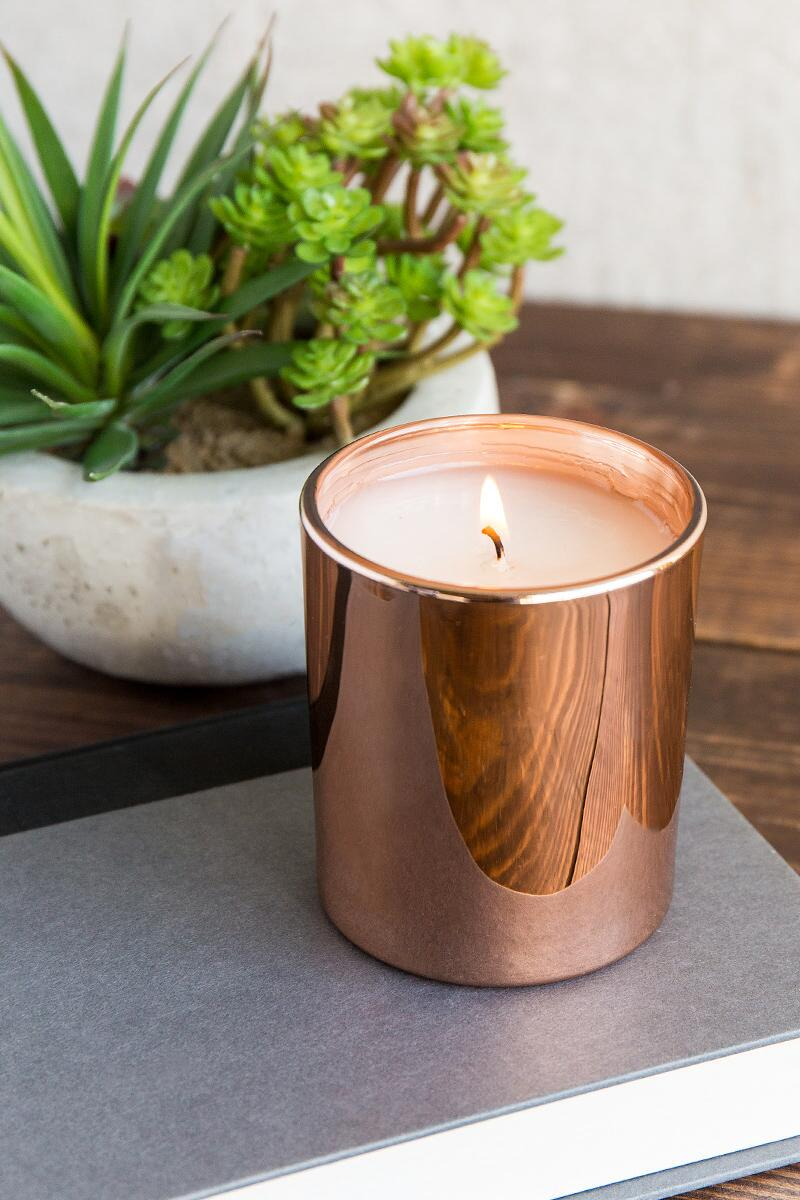 Rose Gold Simmered Cider Candle Jar