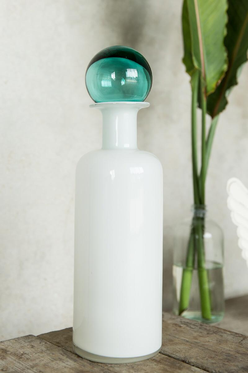 White Glass Jar with Teal Stopper