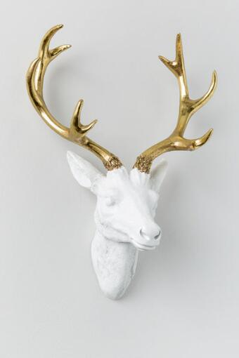 Gold Antler Resin Deer Head Wall Decor