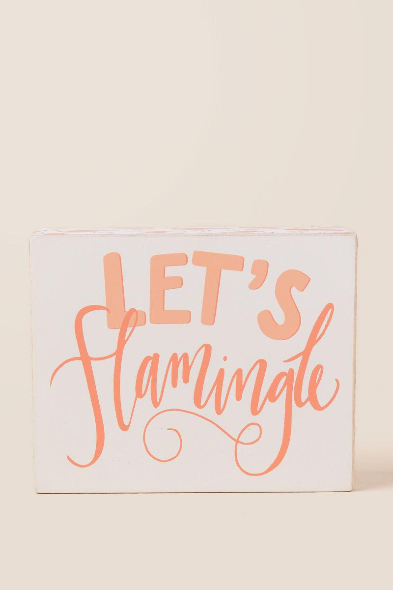 Lets Flamingle Box Sign