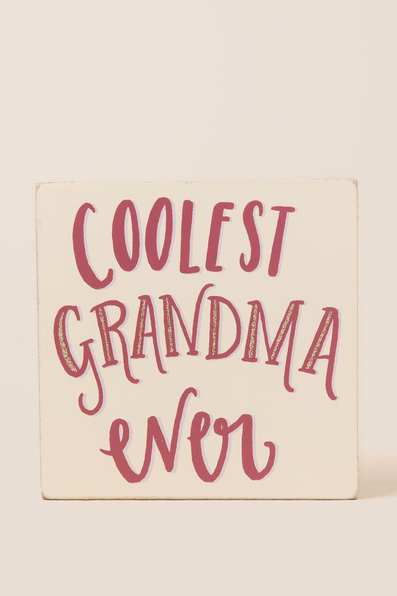 Coolest Grandma Glitter Box Sign