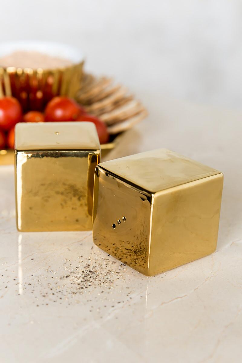Gold Square Salt & Pepper Shakers-  gift-cl