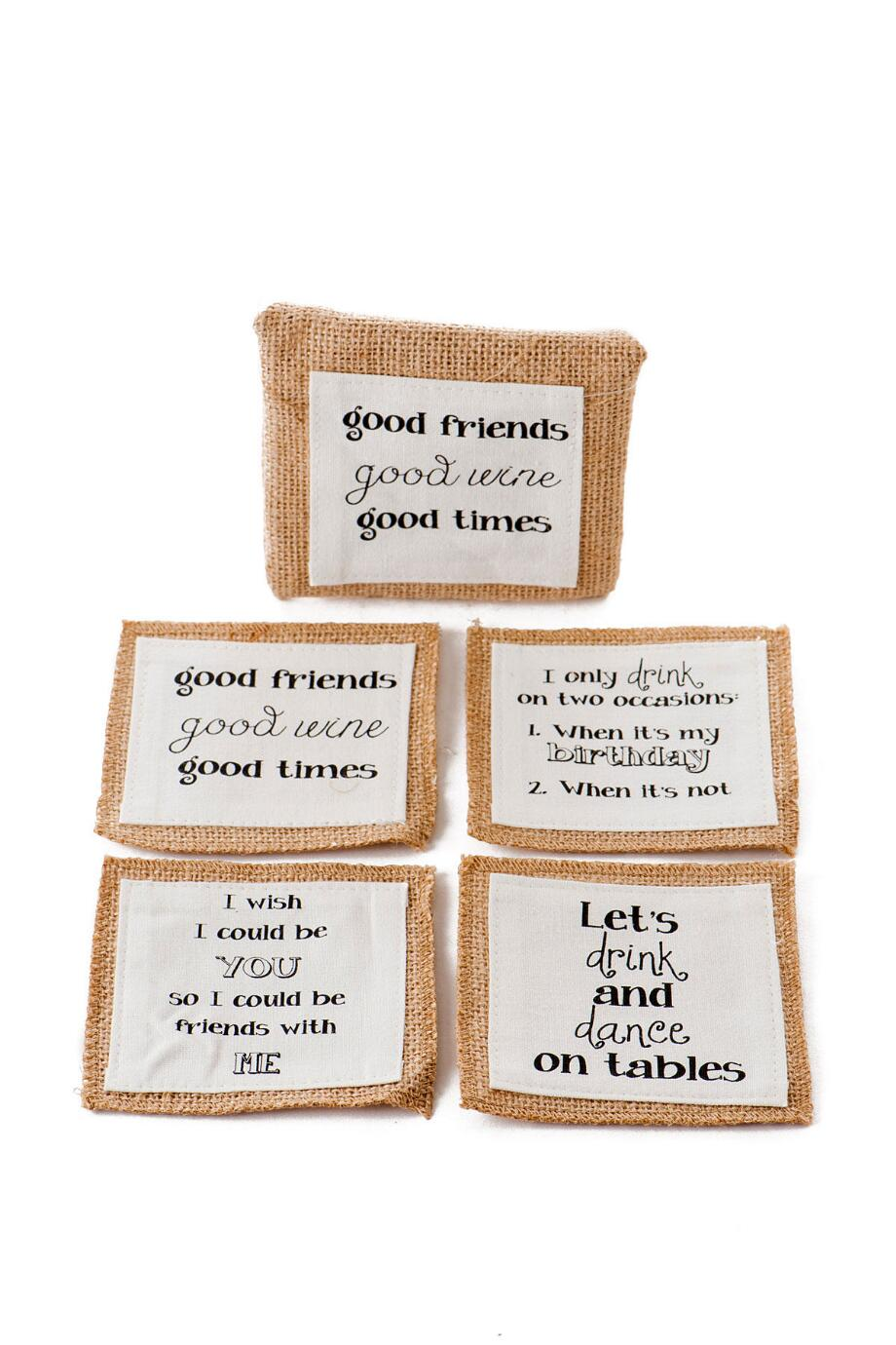 Good Friends Burlap Coasters Set