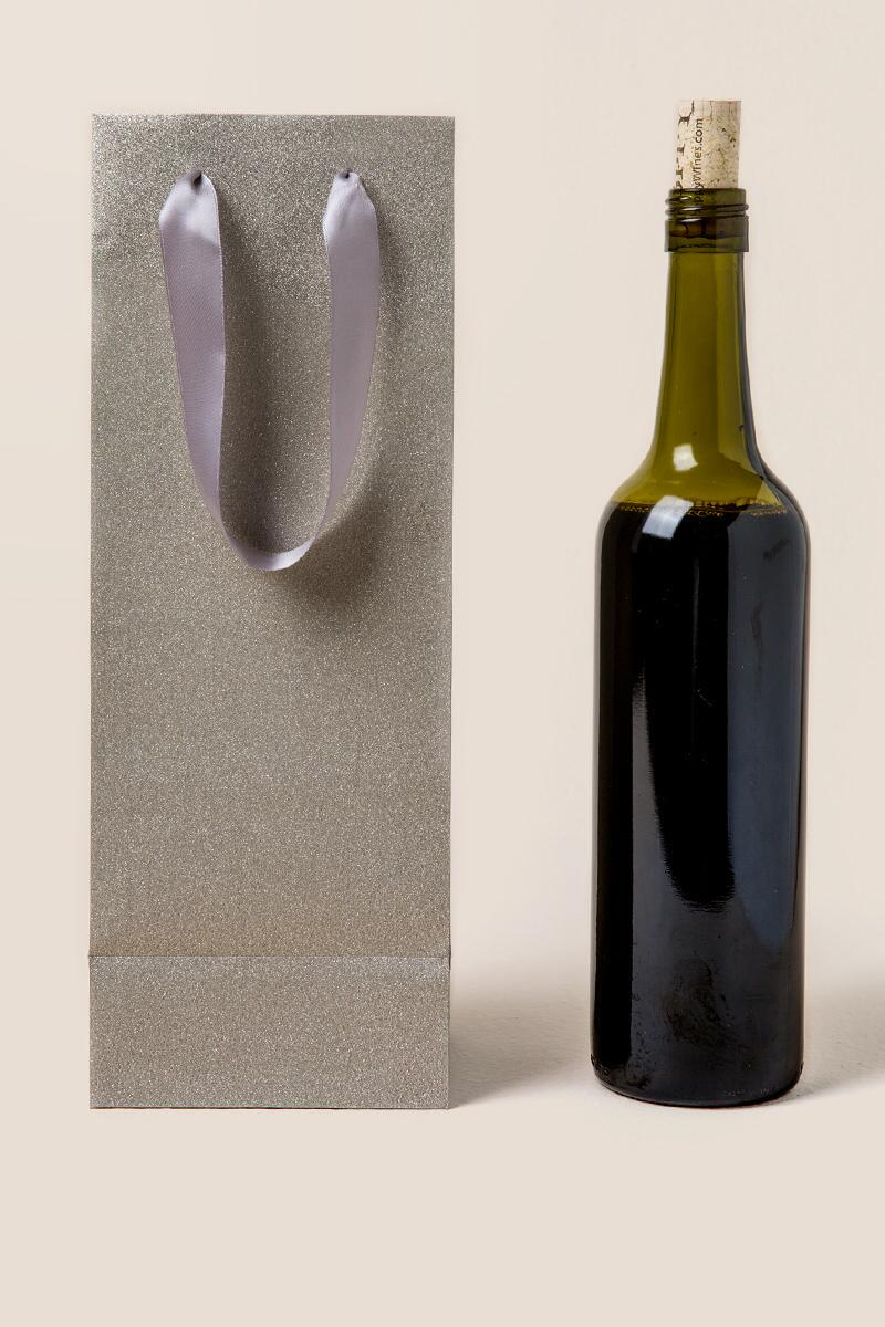 Silver Poly Glitter Wine Gift Bag