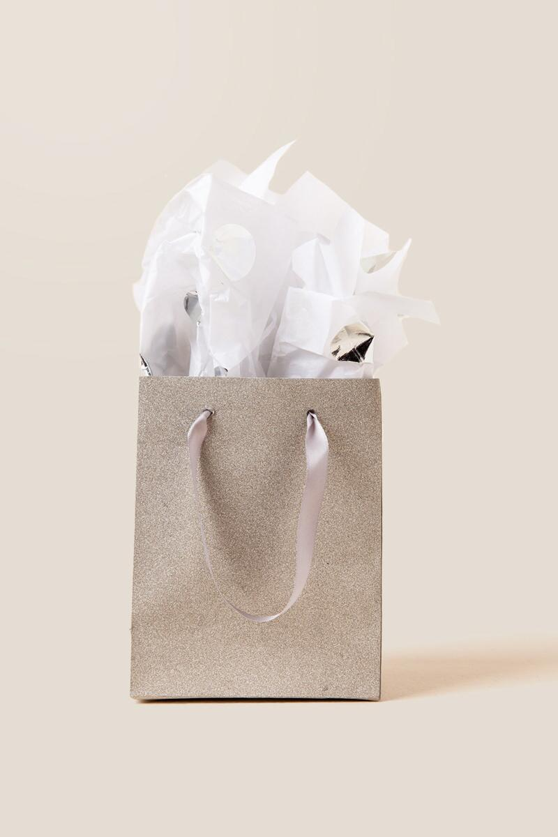 Petite Silver Poly Glitter Gift Bag