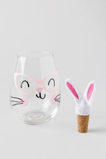 Bunny Stemless Wine Glass with Ears