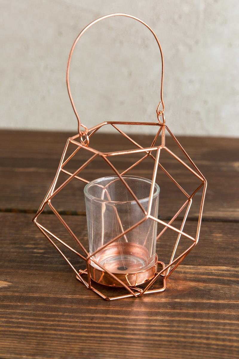 Copper Geo Votive Holder