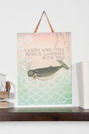 Laughing Whale Medium Wall Sign