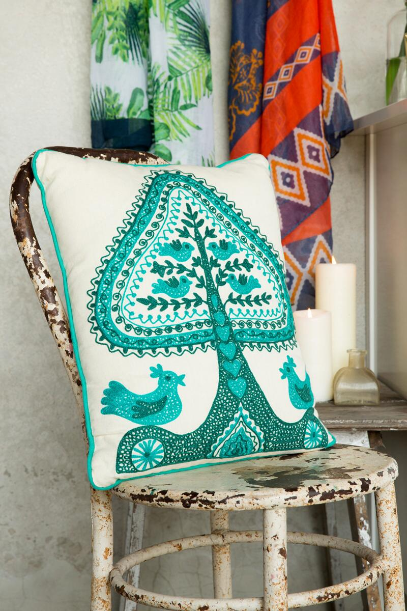Turquoise Tree of Life Pillow