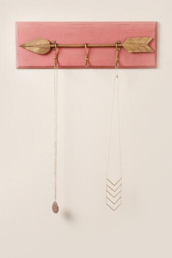 Coral and Gold Arrow Wood Wall Hook