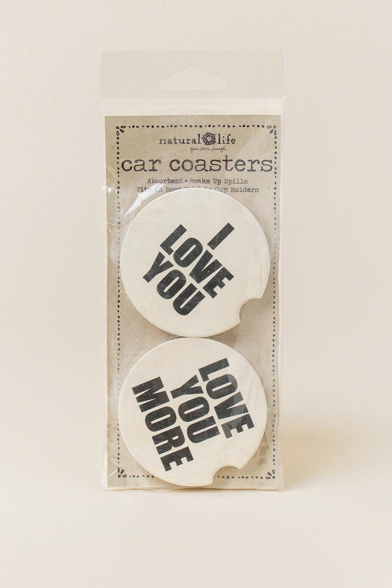 Love You/Love You More Car Coasters