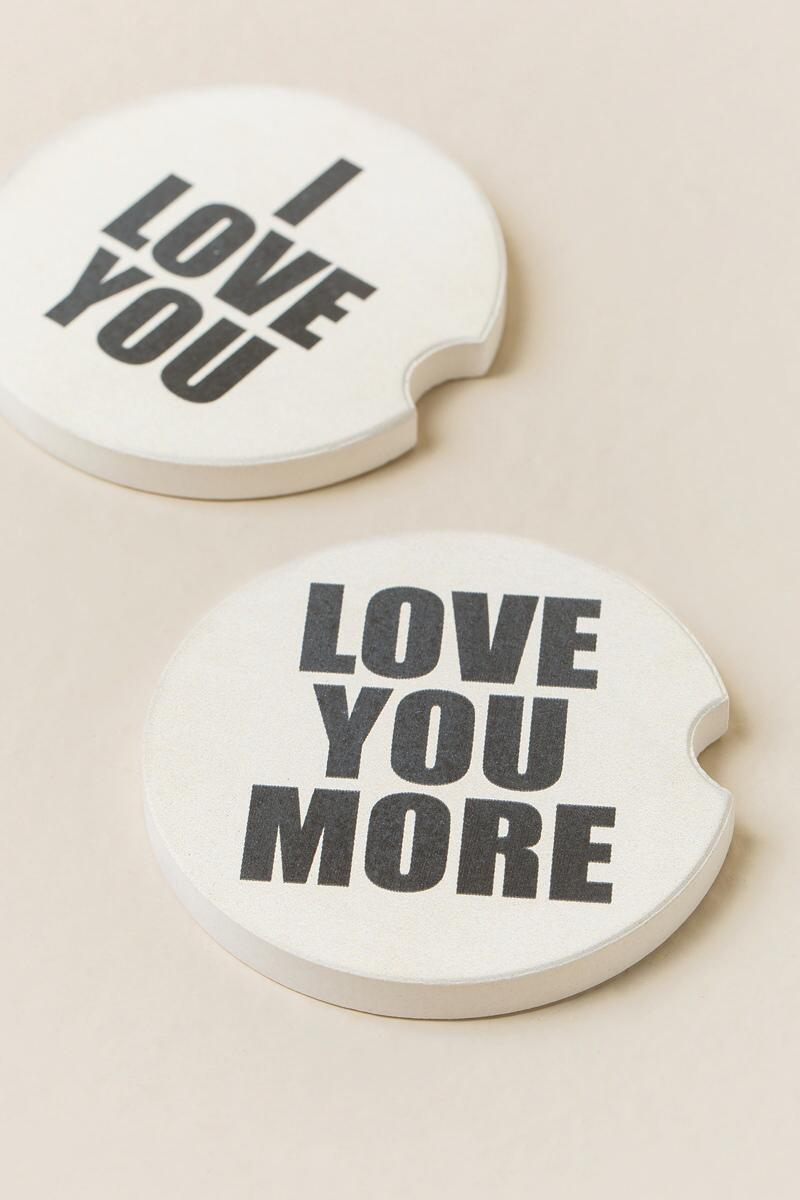 Love You/Love You More Car Coasters-  gift-clalternate
