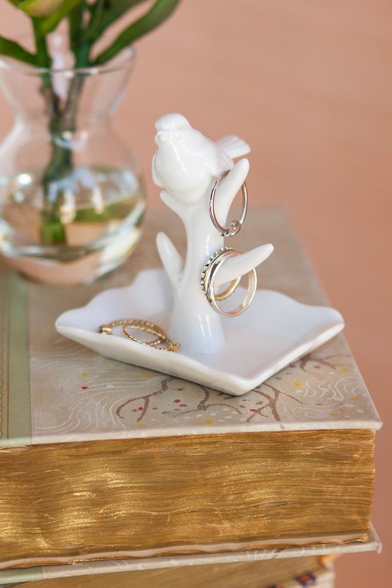 White Ceramic Bird Ring Dish-  gift-cllifestyle