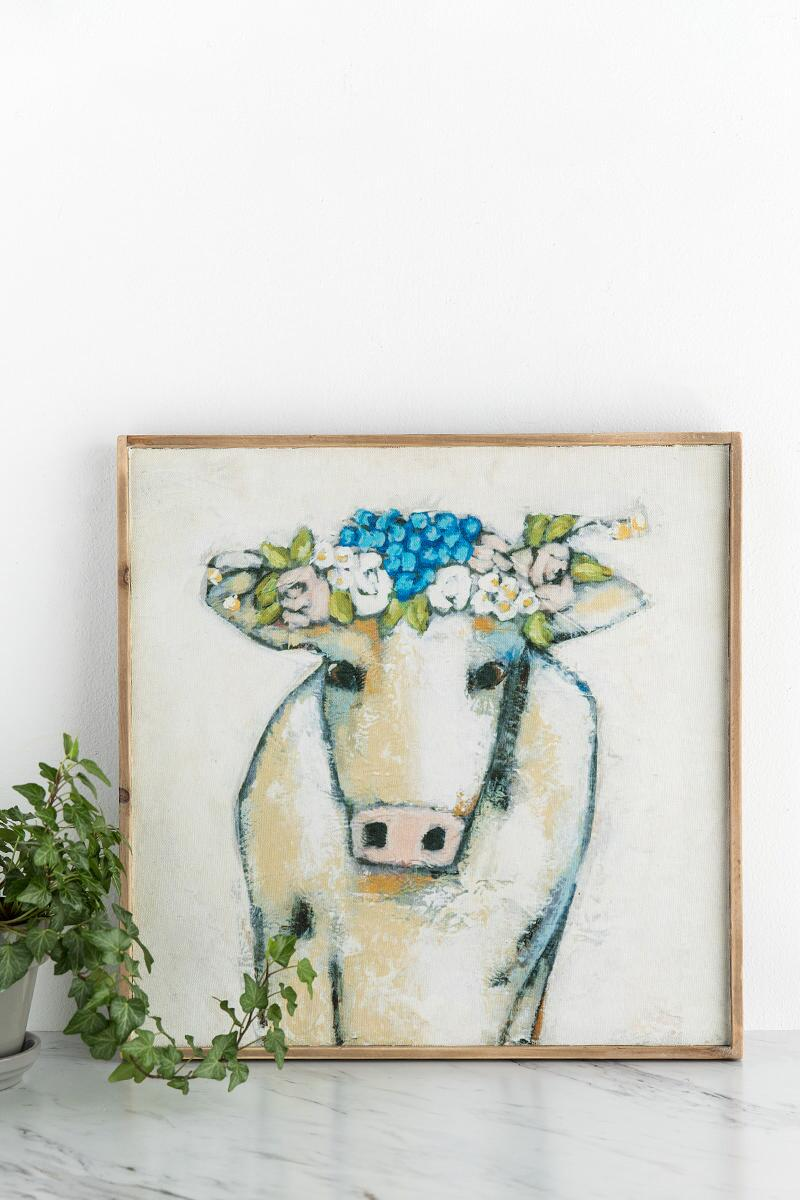 Cow And Flowers Wall Decor-  gift-cllifestyle