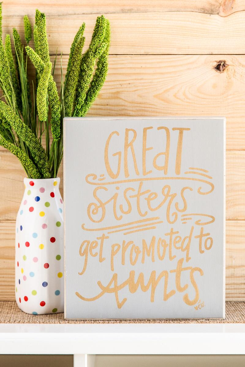 Great Sisters Get Promoted to Aunts Box Sign