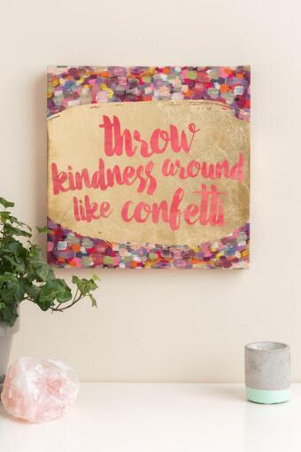 Throw Kindness Like Confetti Canvas Wall Decor