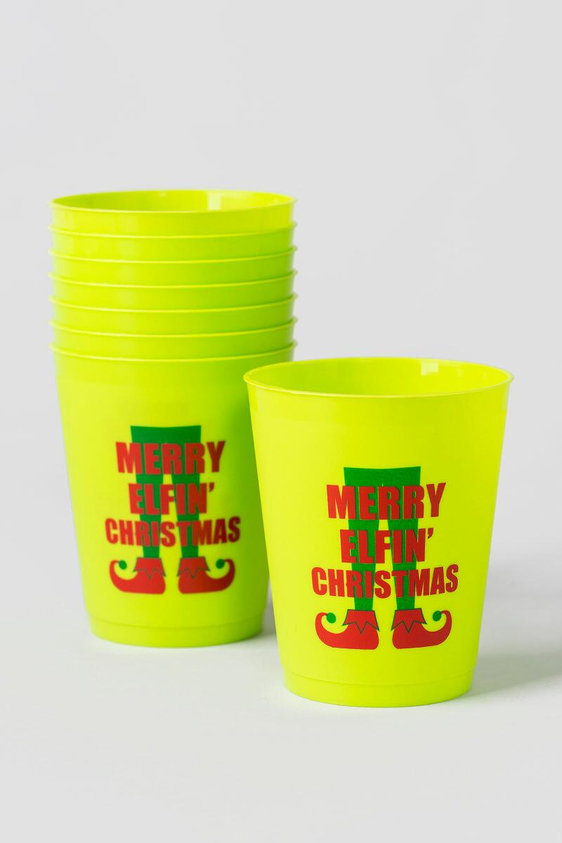 Merry Elfin Christmas Cups Set of 8