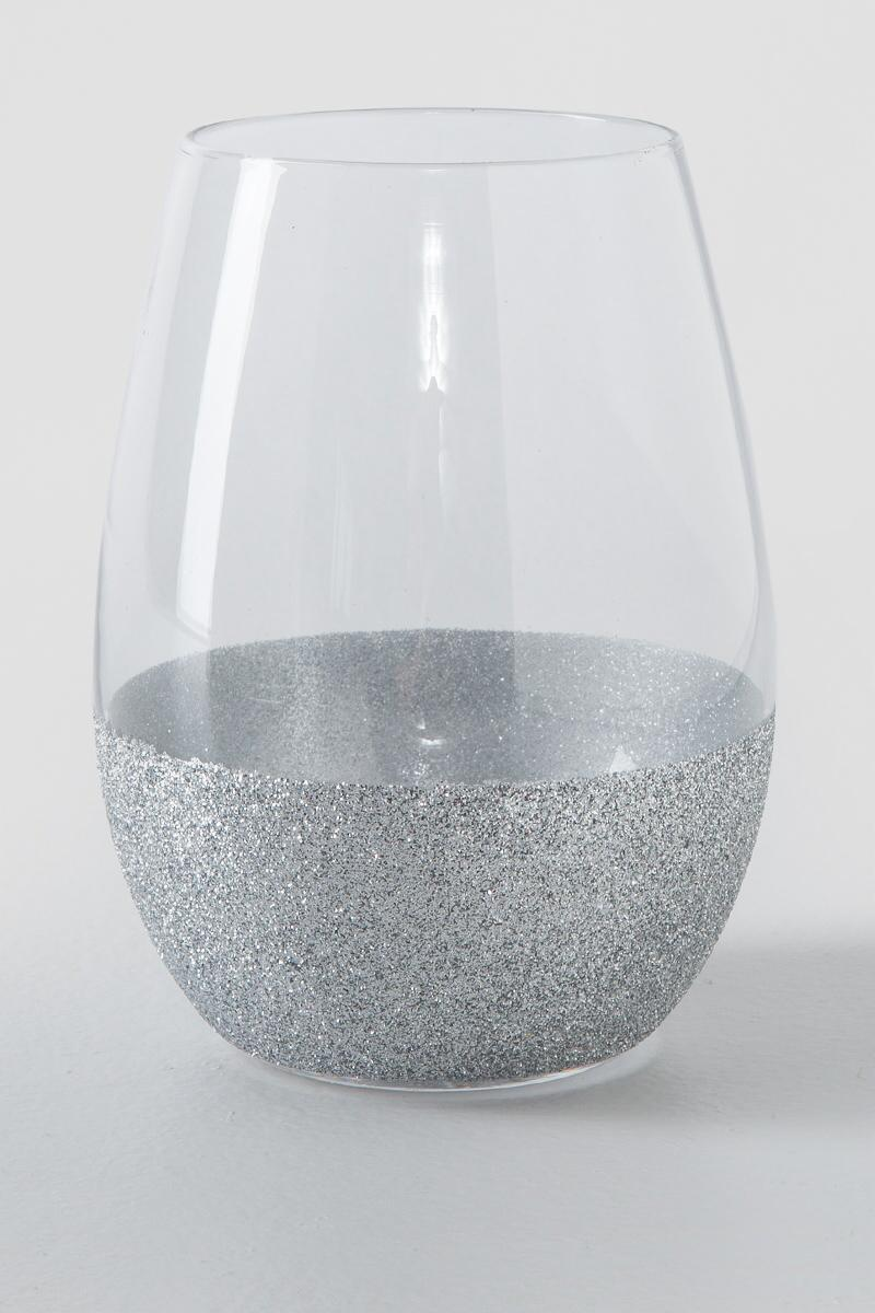 Silver Glitter Dipped Wine Glass