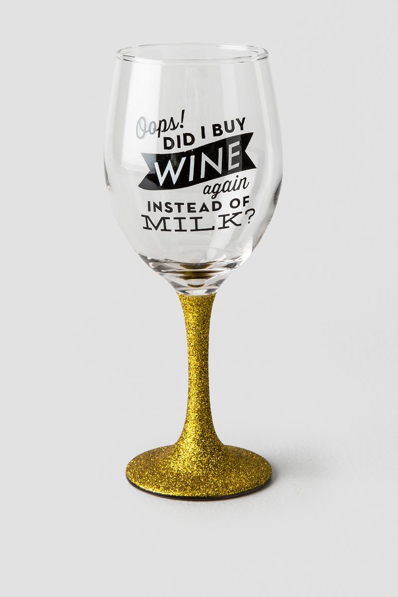 Gold Glitter Oops Did I Buy Wine Again Wine Glass-  gift-cl