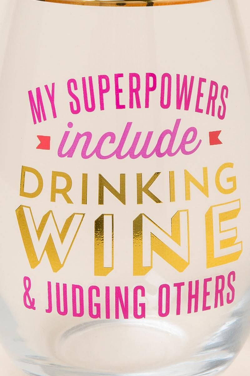 My Superpowers Drinking Wine Judging Others Stemless Wine Glass-  gift-clalternate