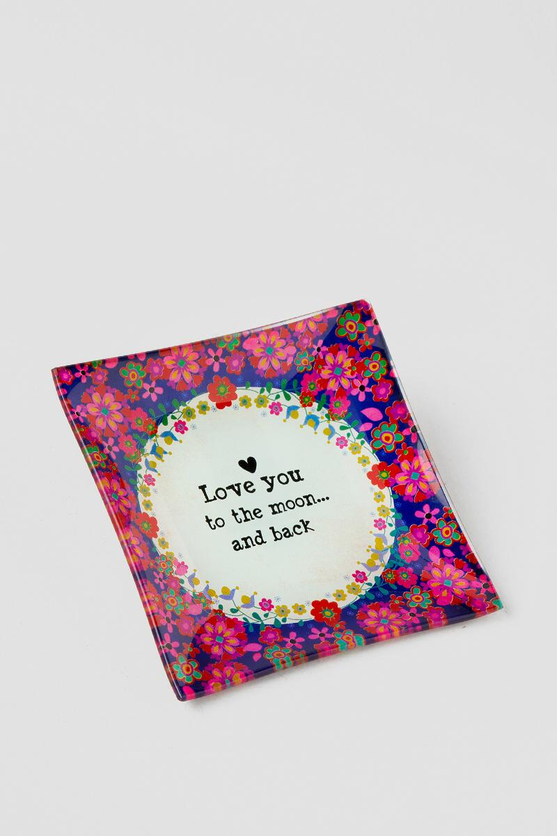Love You to the Moon Floral Glass Tray