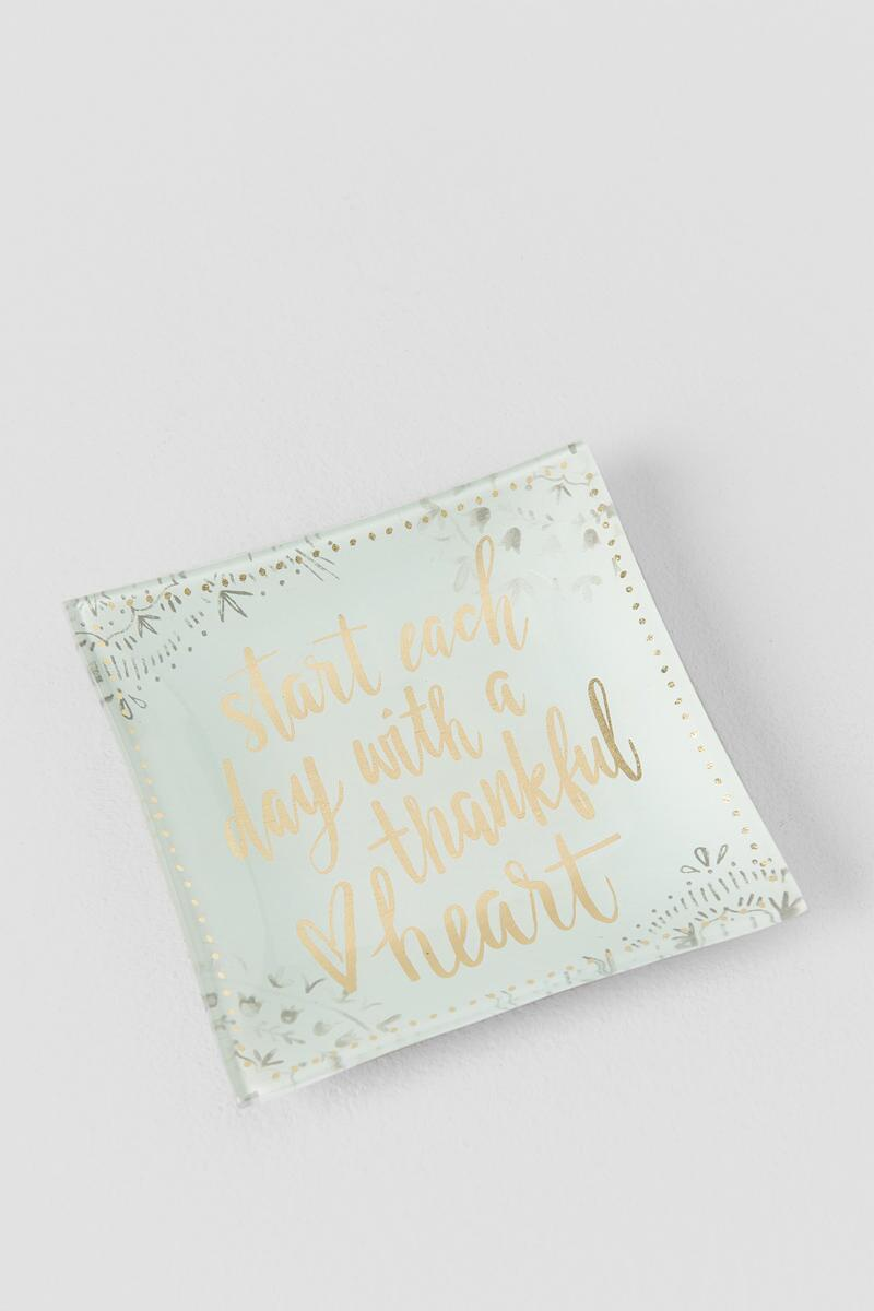 White and Gold Glass Start Each Day Thankful Trinket Tray