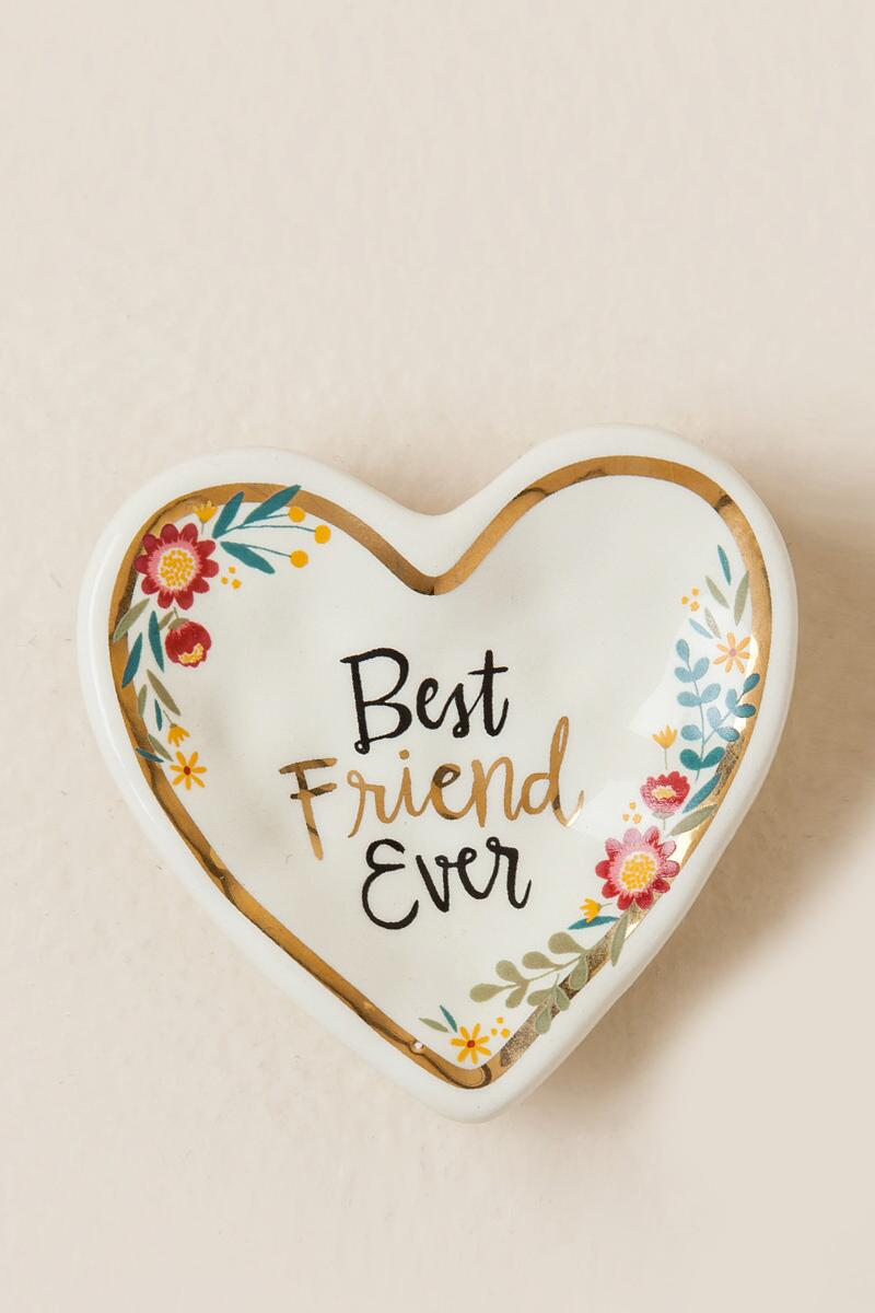 Best Friend Ever Floral Heart Trinket Dish