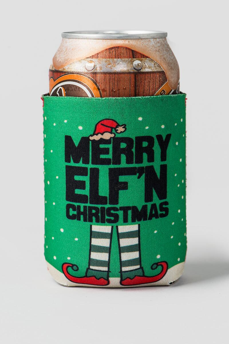 Merry Elfin Christmas Drink Coozie