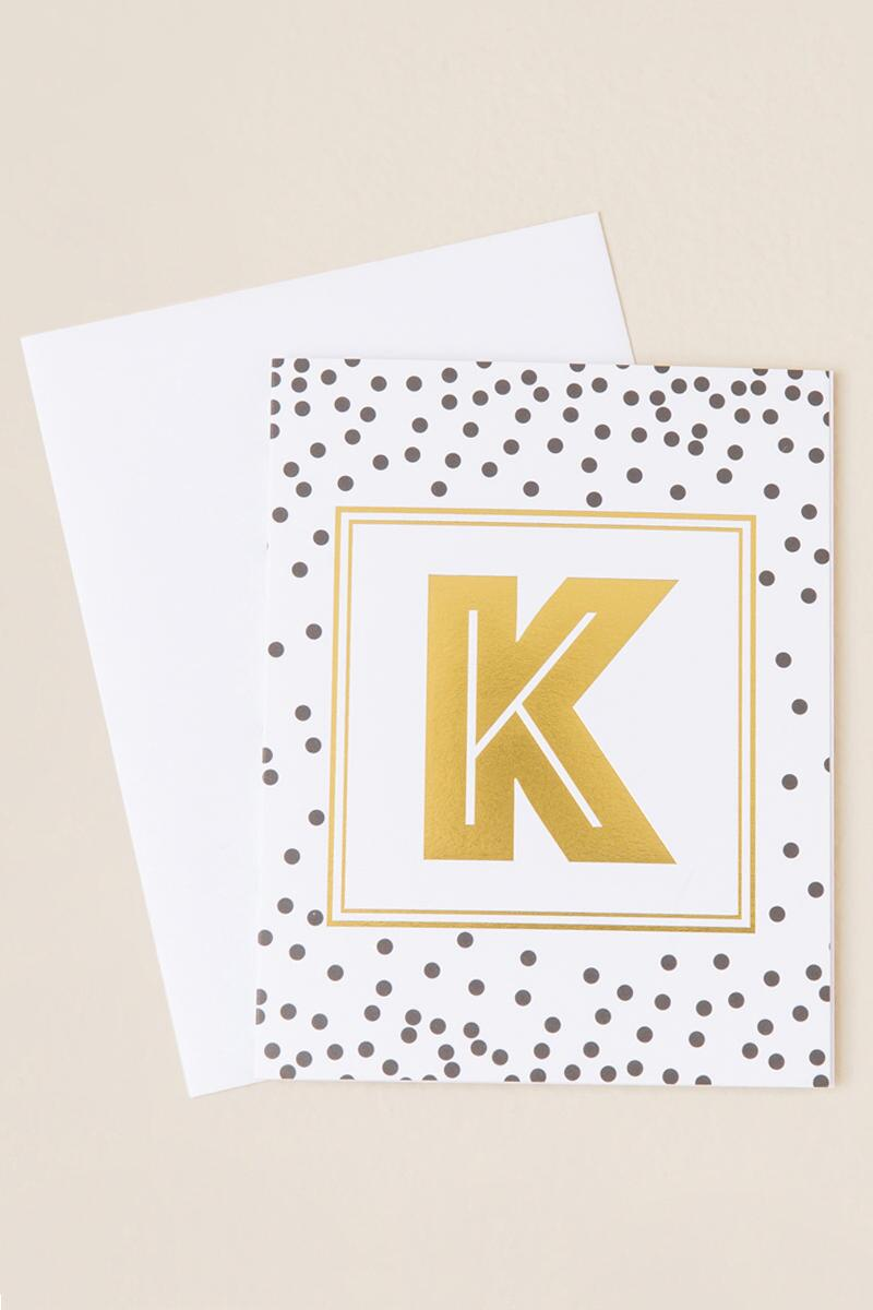"""K"" Initial Card-  gift-cl"